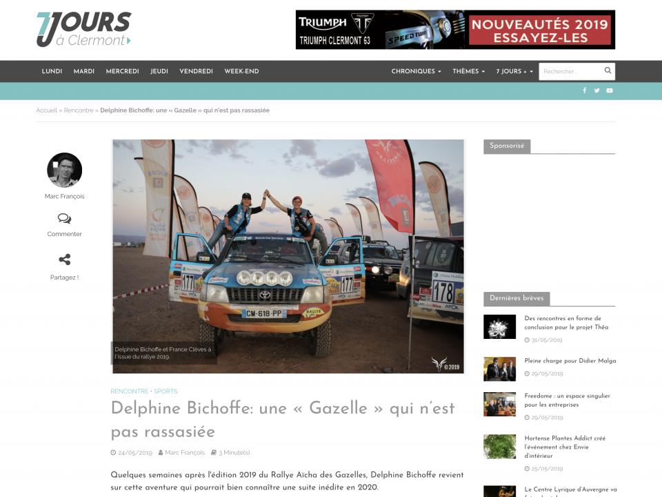 Rallye des gazelles 7jours a clermont Delphine Bichoffe france cleves