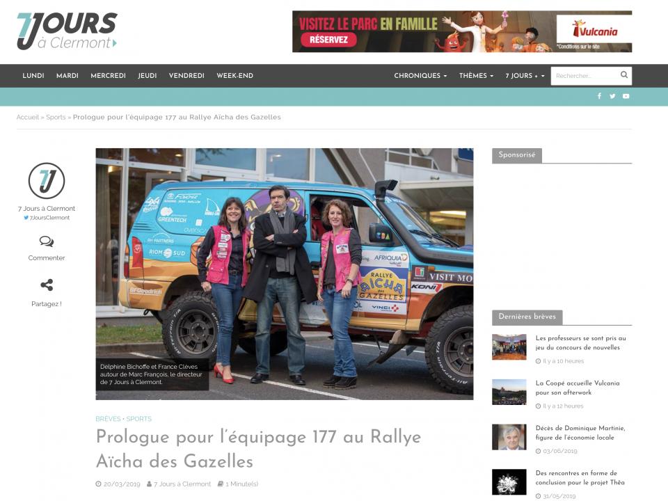 Prologue pour l'équipage 177 au Rallye Aïcha des Gazelles